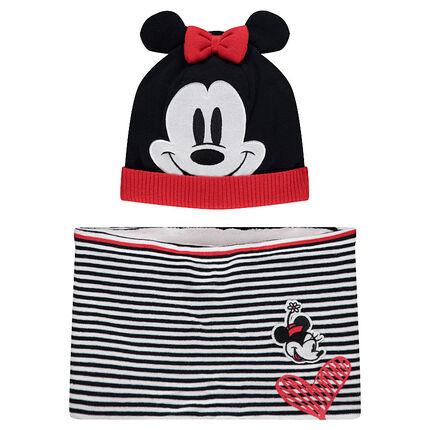 Ensemble bonnet et écharpe motif Minnie Disney doublés sherpa
