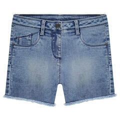 Junior - Jeansshort met used-effect