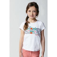 T-shirt manches courtes uni à motif printé
