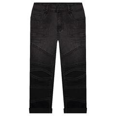 Slim fit jeans met used effect en inzetstukken aan de broekspijpen