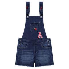 Junior - Salopette short en jeans effet used avec broderies contrastées