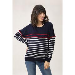 Pull en tricot de grossesse style matin à volant