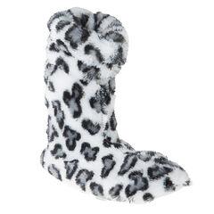 Chaussons bottines fausse fourrure imprimé léopard