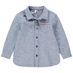 Hemd met lange mouwen uit oneffen katoen met opgestikt zakje