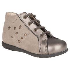 Boots in leder veters bronskleur met studs