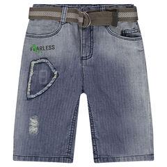 Bermuda en jeans effet used avec ceinture amovible
