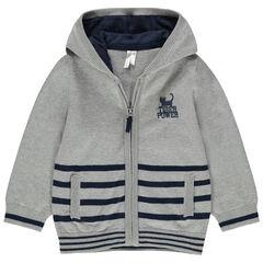 Vest met kap van tricot met contrasterende strepen