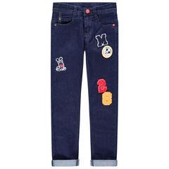 Mickey Disney jeans met used effect en badges van bouclé