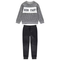 Jogging avec sweat twisté printé et pantalon en molleton uni