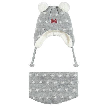 Ensemble van muts en sjaal met voering van sherpastof en motief van Disney Minnie