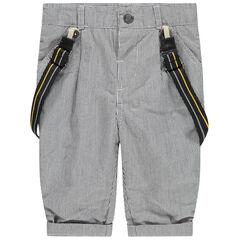 Pantalon à fines rayures et bretelles amovibles doublé jersey