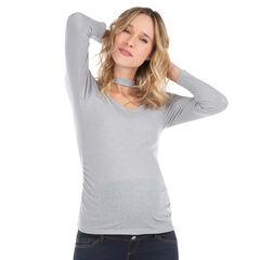 Tee-shirt de grossesse manches longues en jersey avec col fantaisie