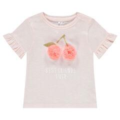 T-shirt met korte mouwen, fantasieprint en volants aan de voorzijde