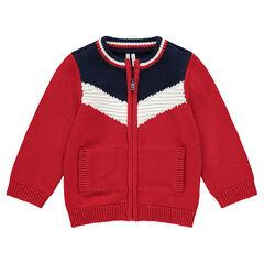 Gilet en tricot zippé avec bandes contrastées