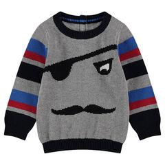 Pull en tricot avec motif pirate en jacquard et bandes contrastées