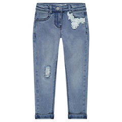 Slim-fit jeans met used effect en kanten inzetstukken