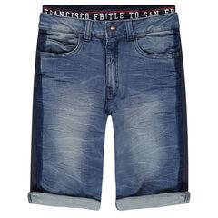 Junior - Bermuda en jeans effet used et crinkle avec double taille