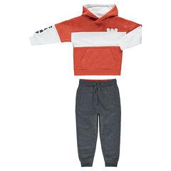 Jogging en molleton avec sweat effet 2 en 1 et pantalon gris chiné