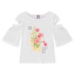 Tee-shirt manches courtes à épaules ajourées et fleurs printées