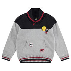Pull en tricot avec badge et motif jacquard ©Smiley