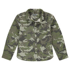 Junior - Chemise motif army all-over en coton double face