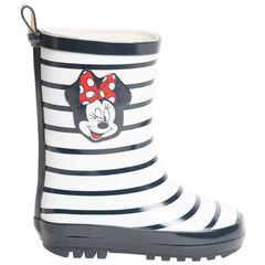 Regenlaarzen voor meisjes met strepen en print Minnie Disney , SAXO BLUES