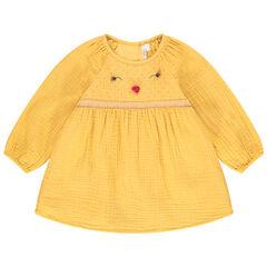 Tunique jaune en gaze de coton pour bébé fille , Orchestra