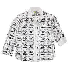 Chemise à manches rétractables motif ethnique all-over