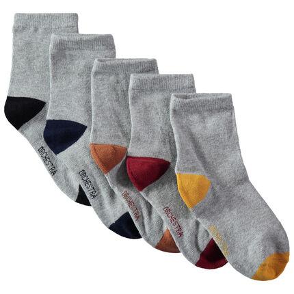 Set met 5 paar sokken met contrasterende neus en hiel