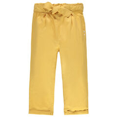 Pantalon fluide en tencel à coeurs brodés