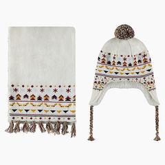 Ensemble van muts en sjaal van tricot met voering van sherpa