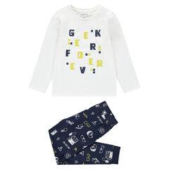 """Pyjama van jerseystof met letterprint en broek met motieven """"all-over"""""""