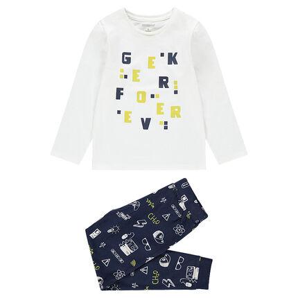 Pyjama en jersey avec lettres printées et pantalon à motifs all-over