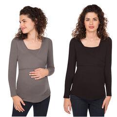 Set van 2 t-shirts lange mouwen voor tijdens de zwangerschap geschikt voor borstvoeding in effen kleur