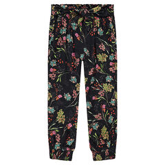 Pantalon fluide à fleurs all-over