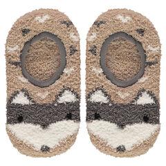 Lage sokken in de vorm van pantoffels in boucléstof met antislipnoppen en wolfmotief