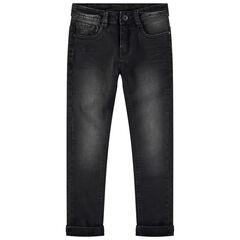 Junior - Jeans effet used et crinkle avec inscription en relief au dos