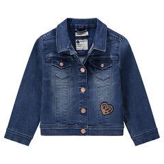 Veste en jean effet used à poches et coeur en sequins