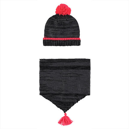 Ensemble bonnet et snood en tricot effet brillant doublés sherpa
