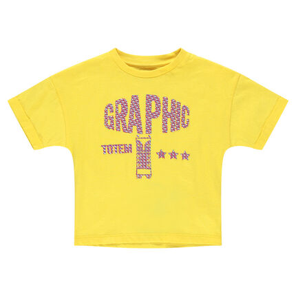 T-shirt met korte mouwen van gele jerseystof met fantasieprint met reliëf