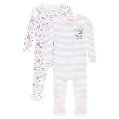 Set van 2 pyjama's uit jerseystof met ritssluiting en eenhoornprint