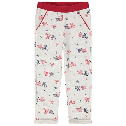 Pantalon de jogging en molleton chiné à noeuds printés