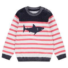 Tricottrui met marinière-effect en haaienprint