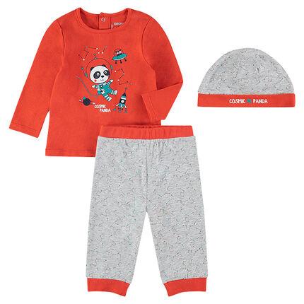 a587d3f3087f Pyjama 3 pièces avec tee-shirt print panda, bonnet et pantalon imprimés ...