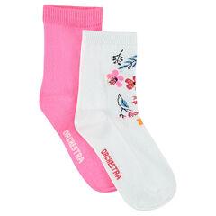 Lot de 2 paires de chaussettes assorties unies / à fleurs