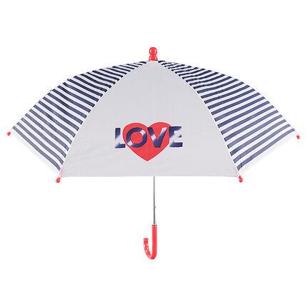 Parapluie avec rayures et coeurs printés