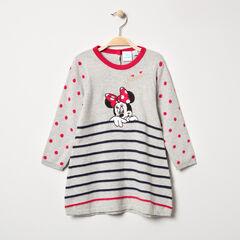 Robe manches longues en tricot motif Minnie Disney et rayures