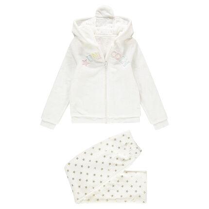 Junior - Pyjama van fleece met eenhoorn en fantasiekap met reliëf