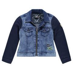Veste en jeans bi-matière zippée avec badges et broderies