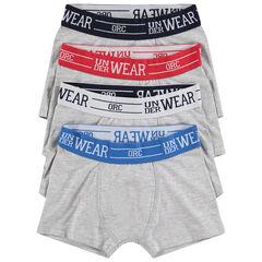 Set met 4 grijze boxershorten met contrasterende taille en opschrift van jacquard